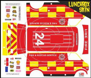 Fire Engine Emergency themed vinyl SKIN Kit & Stickers To Fit Tamiya Lunchbox R/C Monster Truck